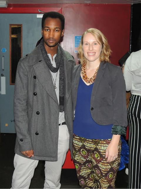 Kitenge Store Founder Sian Wells wearing African print trousers back stage at AFROFEST 2017 with the President of University of Warwick's East African Society called James Kariuki