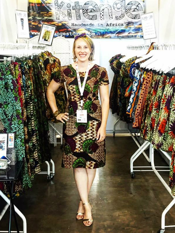 Kitenge Founder Sian wearing an ankara pencil dress on our stall at Africa Fashion Week London