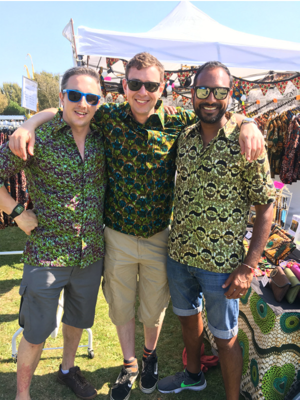 Kitenge customers wearing their African style shirts at Victorious music festival 2017 in Portsmouth UK