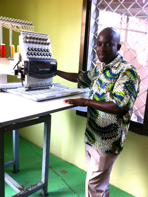 Fredya is a senior technician at a small local factory in Tanzania and manages the production of Kitenge's size labels using their computerised embroidery machine which are later sewn into our African print clothing by our talented team of tailors