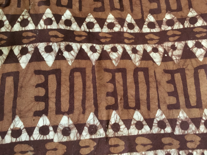 A batik fabric design printed by hand in a Ghanaian workshop