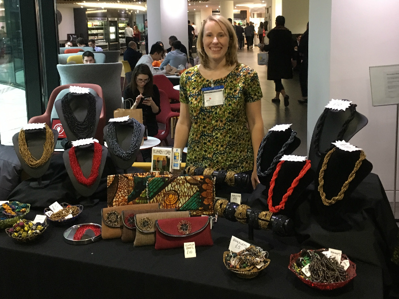 Kitenge founder Sian showcasing our African clothes and accessories in London at Pwc's social enterprise Christmas fair in their staff restaurant