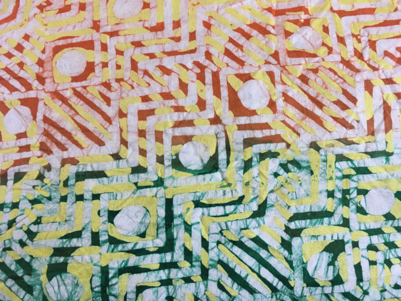 A traditional colourful batik design handmade in a small workshop in Ghana