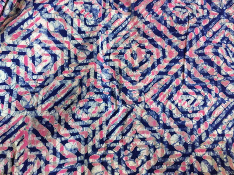 close up of a traditional batik fabric made by hand in Ghana West Africa