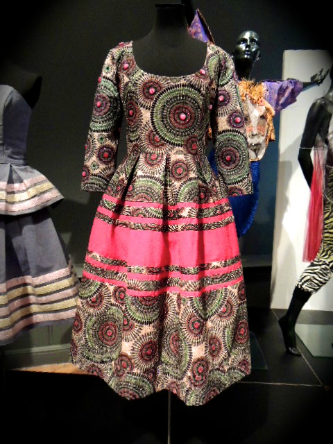 South African designer Thula Sindi's fit and flare dress displayed on a mannequin at the Fashion Cities Africa exhibition at Brighton Museum, UK, in January 2017
