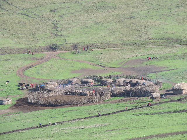 A Masai village located inside the Ngorongoro Conservation Area in northern Tanzania