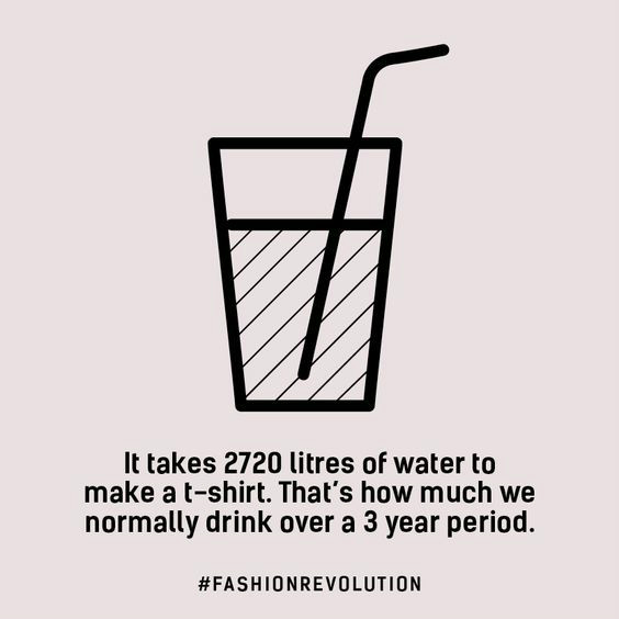 It takes 2720 litres of water to make a t-shirt. That's how much we normally drink over a 3 year period (Fashion Revolution fact)
