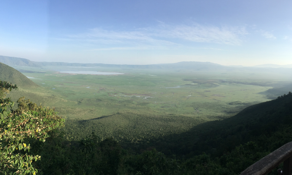 view of the stunning landscape from the Ngorongoro Crater rim in Tanzania