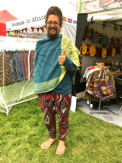 Benji from Super Dread feeling very comfortable in his brand new pair of African print trousers at Kaya world music and arts festival UK