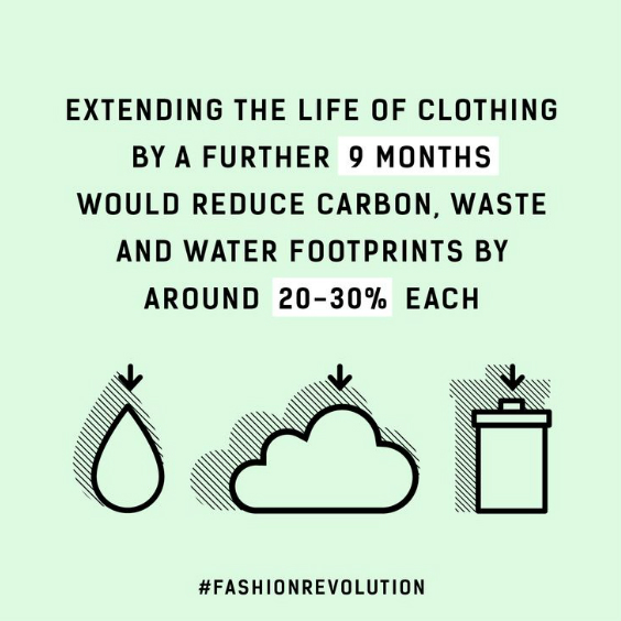 extending the life of clothing by a further 9 months would reduce carbon waste and water footprints by around 20-30% each Fashion Revolution quote sustainable clothing UK