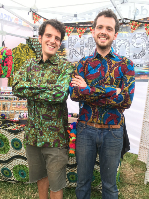 happy customers modelling their funky Kitenge shirts at WOMAD Festival UK