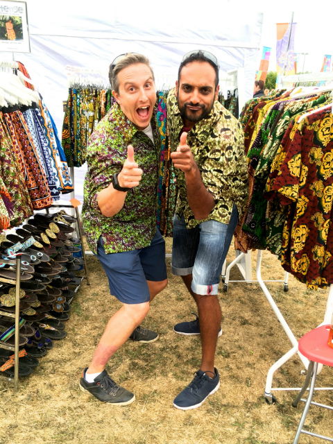 Kitenge customers having fun wearing their African style shirts at Victorious festival UK