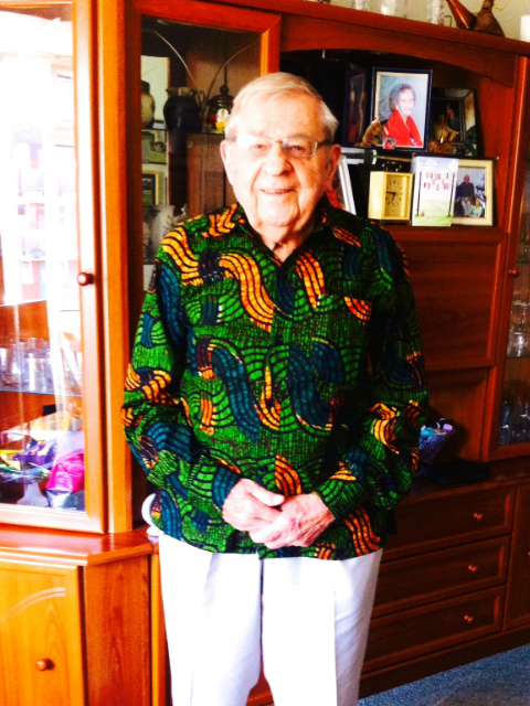 Kitenge founder's grandfather modelling one of his African print shirts