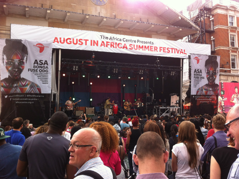 The Africa Centre Summer festival stage in London UK