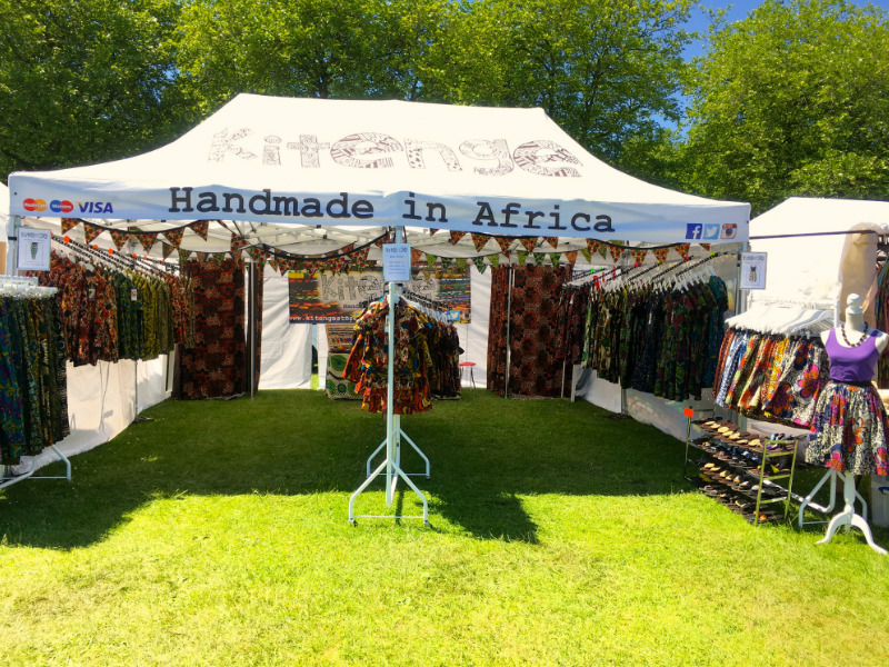 Kitenge's stall at Africa Oye 2017 in Sefton Park, Liverpool, UK