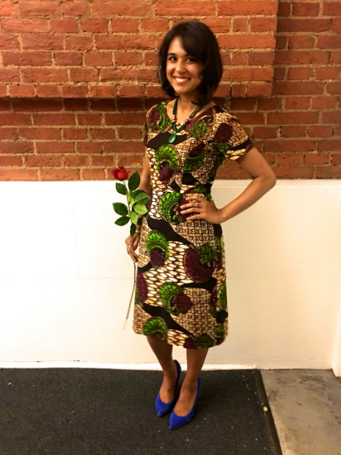 Tania Rahman Founder of Chit Chaat Chai an Indian street food restaurant in London wearing a Kitenge African print dress to a social enterprise awards ceremony