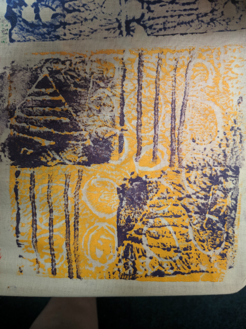 African print fabric inspired artwork by a primary school child