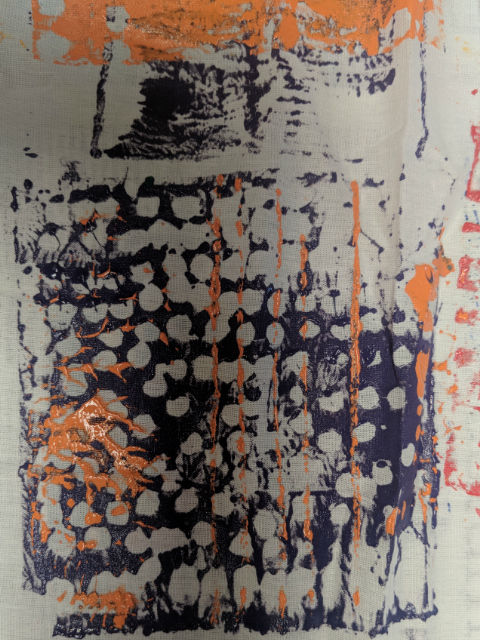 African wax print fabric inspired printwork by primary school pupil