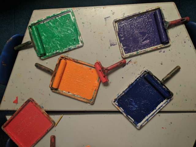 Paint printing rollers children's art class primary school