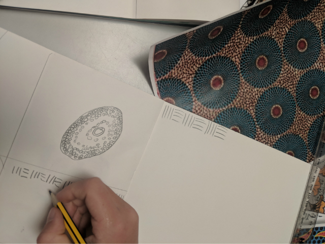Primary school child sketching with pencil a African wax print fabric design from a photograph in art class
