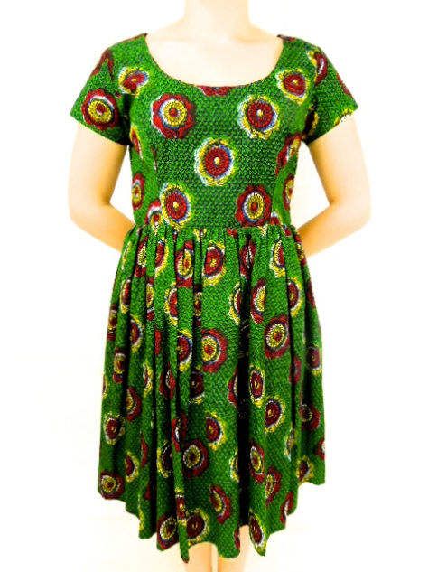 Green African print fit and flare dress model wearing front view